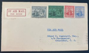 1929 Port Of Pain Trinidad & Tobago Early Airmail Cover To Cristobal Canal Zone