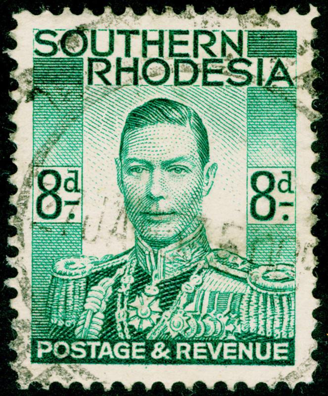 RHODESIA SG45, 8d emerald-green, USED.