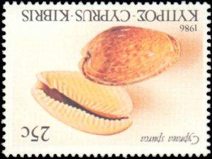 Cyprus #671-674, Complete Set(4), 1986, Sea Shells, Never Hinged