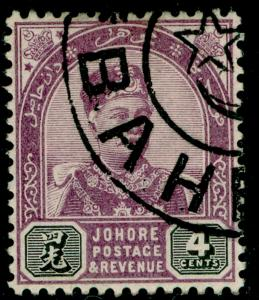 MALAYSIA - Johore SG24, 4c dull purple & blk, FINE used. Cat £21. NO WMK.