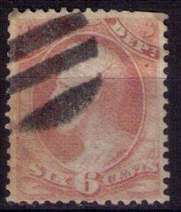 US Scott #186 Used 6c Pink Nice Sound Stamp F-VF