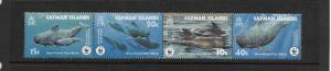 WHALES - CAYMAN ISLANDS #902-5 WWF  MNH (row b-horz)