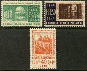 MEXICO C108-C110, School of San Nicolas 1st in America. MINT, NH. VF.