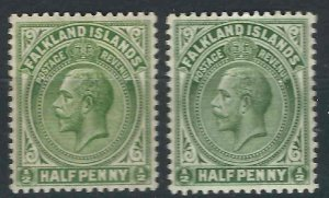 Falkland Is 41, 41a SG 73, 73a MLH VF 1921-25 SCV $7.00