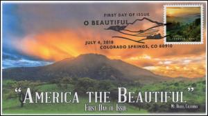 18-191, 2018, O' Beautiful, First Day Cover, Pictorial Postmark, Mt Diablo CA
