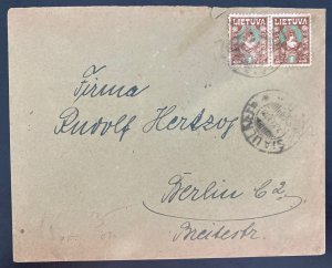 1921 Siuliai Lithuania cover To Berlin Germany