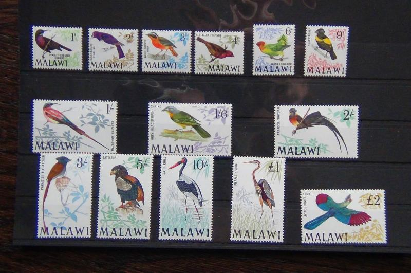 Malawi 1968 set complete to £2 MNH SG310/323 Birds