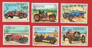 Laos #561-566  VF used  Classic Cars  short set   Free S/H
