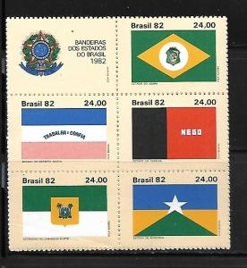 BRAZIL, 1830, MNH, SS, BLOCK OF 5 + LABEL, FLAGS