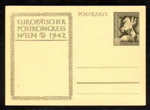 GERMANY 1942 European Postal Congress Overprinted 6+4pf Postal Card Unused