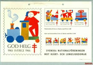 Sweden. Christmas Seal.1965/66. Post Office/Store  Display Sign. Train, Santa