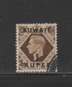 KUWAIT #79  1948  1r on 1sh   KING GEORGE VI SURCHARGED   F-VF  USED  f