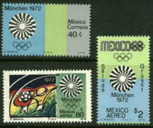 MEXICO 1047,C410-C411 Munich Olympic Games MINT, NH. F-VF.