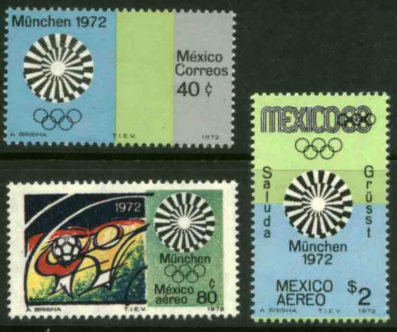 MEXICO 1047,C410-C411 Munich Olympic Games MINT, NH. F-VF.