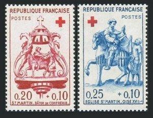 France B347-B348,hinged.Mi 1329-1330. Red Cross-1960.St.Martin,Wood sculpture.