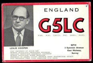 QSL QSO RADIO CARD Photo of Leslie Cooper,G5LC, Surrey, England (Q3021)