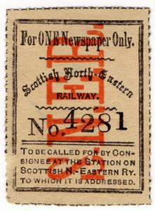 (I.B) Scottish North-Eastern Railway : Newspaper Stamp