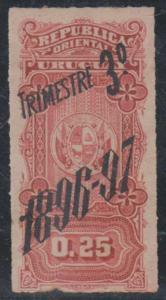 URUGUAY REVENUES 1896-97 DOCUMENTS 25c Third Quarter HINGED MINT F,VF