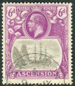 ASCENSION-1924-33 6d Grey-Black & Bright Purple CLEFT ROCK.  A fine used Sg 16c