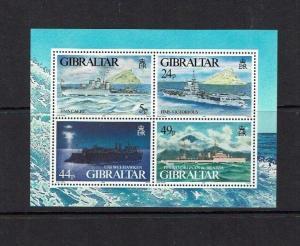 Gibraltar: 1995 , World War II warships, (2nd series) miniature sheet, MNH