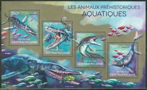 CENTRAL AFRICA  2014 PRE HISTORIC AQUATIC  ANIMALS  SHEET  MINT NH