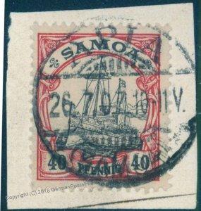 Germany Colonies Samoa Mi13 Yacht APIA Cancel Stamp 94780