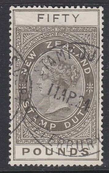 NEW ZEALAND 1880 LONG TYPE STAMP DUTY £50 used..............................J415