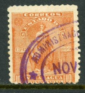Nicaragua 1899 Seebeck 10¢ Justice Postally Used B810 ⭐⭐⭐⭐⭐⭐