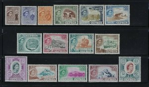 CYPRUS SCOTT #168-182 1955 QEII SET - MINT NEVER HINGED