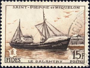St-PIERRE-&-MIQUELON - 1956 - Yv.352/Mi.379 15fr FIDES Le Galantry - Obl. TB