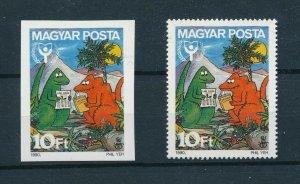 [105742] Hungary 1990 Prehistoric animals dinosaurs art Perf. + Imperf. MNH