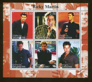 Tajikistan Commemorative Souvenir Stamp Sheet - Musician Ricky Martin