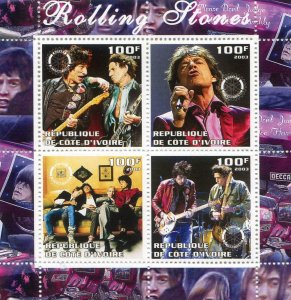 Ivory Coast 2003 ROLLING STONES Sheet Perforated Mint (NH)