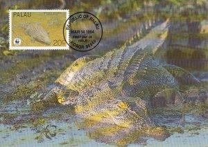 Palau 1994 Maxicard Sc #323c 20c Estuarine crocodile WWF
