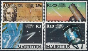 1986 Mauritius Halley`s Comet, Space, Telescope, compl. set VF/MNH, CAT 10$
