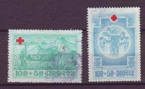 J25418 JLstamps 1953 south korea set used #b1-2 red cross
