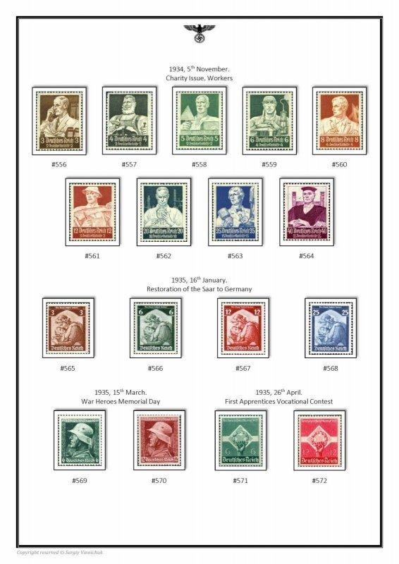 Germany Third Reich Deutsches Reich III 1933-1945 PDF(DIGITAL) STAMP ALBUM PAGES