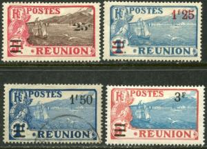 REUNION Sc#116-119 1924-27 Re-Valued Part Set OG Mint Hinged