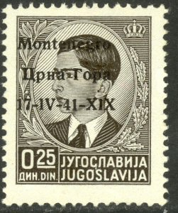 MONTENEGRO WW2 ITALIAN OCCUPATION 1941 25p 1 instead of I Var Sc 2N1 MH