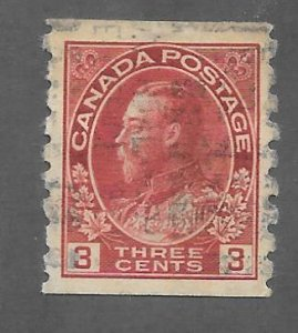 Canada Scott #130 Used 3c King George V Vertical Coil  2018 CV $9.00