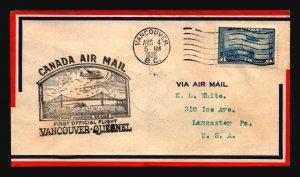 Canada 1938 FFC Vancouver to Quisnel - L2997
