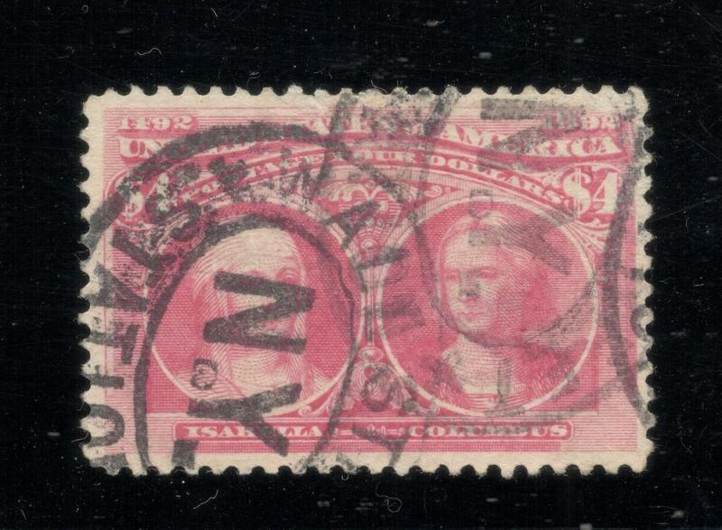 US#244a Rose Carmine - $4.00 Columbian - Wall Street Cancel