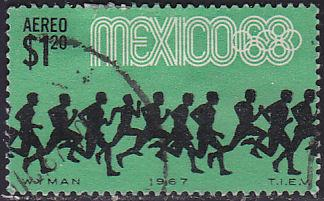 Mexico C329 Hinged Used 1967 Olympic Runners