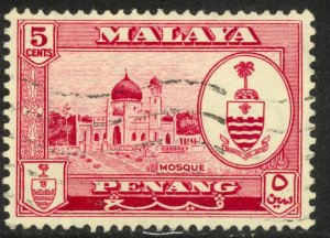 MALAYA PENANG 1960 5c MOSQUE Pictorial Sc 59 VFU