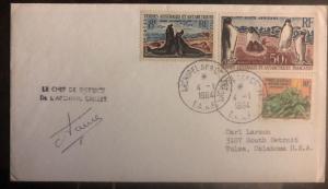 1964 Crozet Island Australia cover French Antarctic Territory To Tulsa Ok USA