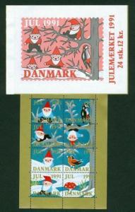 Denmark. Booklet 1991  Christmas Seals Mnh.  Santa, Birds