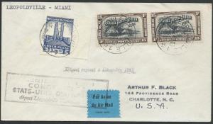 BELGIAN CONGO 1941 first flight cover Leopolville to Miami, USA............51257