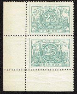 Belgium Stamp #Q10 1882-94 25c RAILWAY Parcel Post MNH(selvage h) PAIR $250 RARE