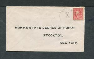 Postal History - Lincoln MI 1916 Black 4-bar Cancel Return Cover B0683