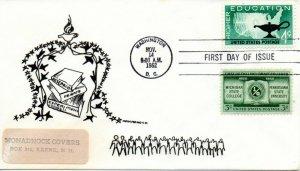 US FDC #1206 Education Combo, Monadnock (9625)